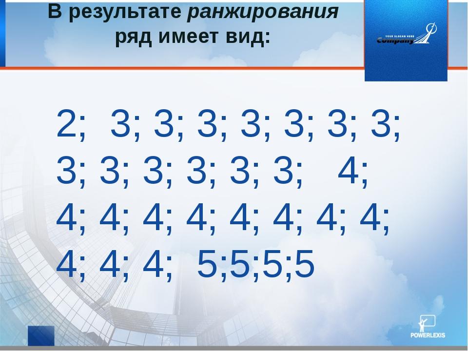 В результате ранжирования ряд имеет вид: 2; 3; 3; 3; 3; 3; 3; 3; 3; 3; 3; 3;...