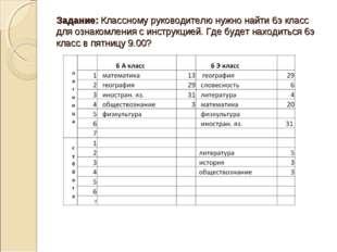Задание: Классному руководителю нужно найти 6э класс для ознакомления с инстр