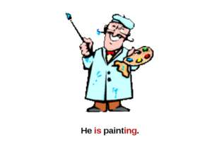 He is painting.