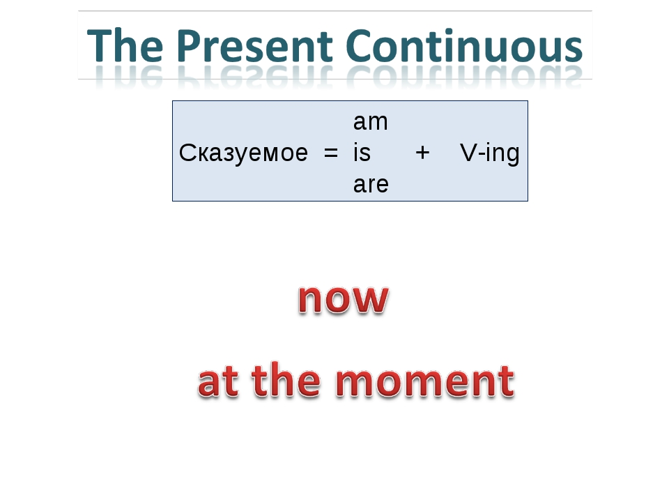 am Сказуемое = is + V-ing are
