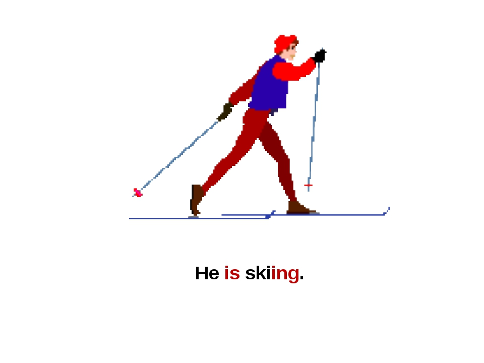 He is skiing.