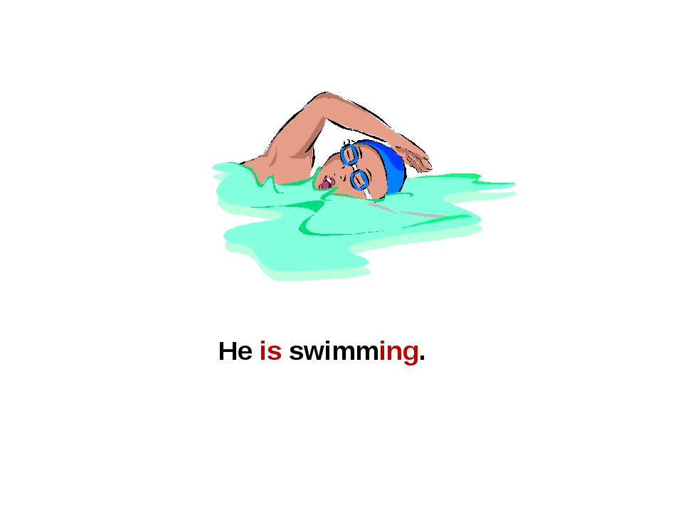 He is swimming.