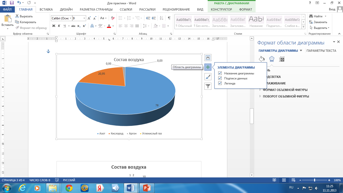 Как в презентации сделать диаграммы в 998