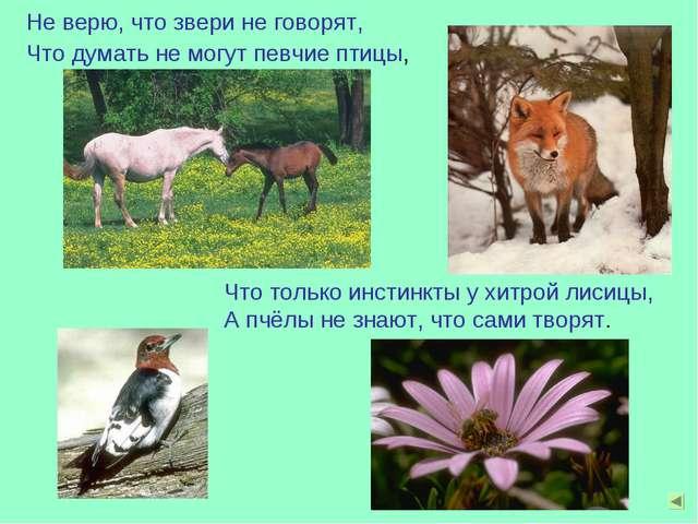 Не верю, что звери не говорят, Что думать не могут певчие птицы, Что только и...