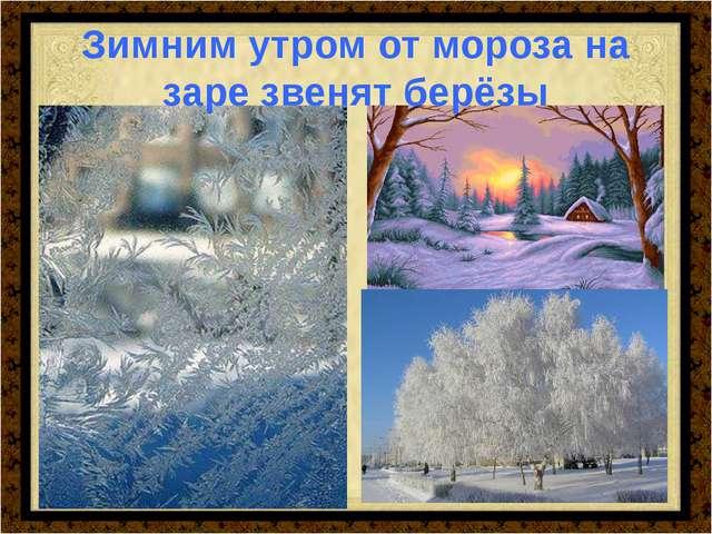Зимним утром от мороза на заре звенят берёзы