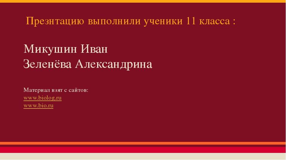 Презнтацию выполнили ученики 11 класса : Микушин Иван Зеленёва Александрина М...