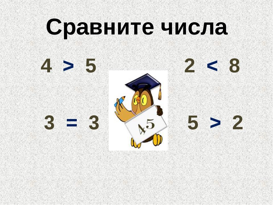 Сравните числа 4 > 5 2 < 8 3 = 3 5 > 2