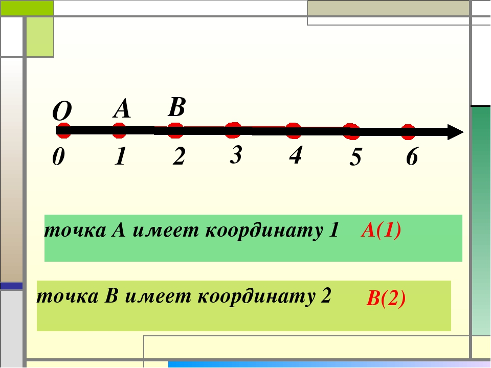 точка А имеет координату 1 А(1)