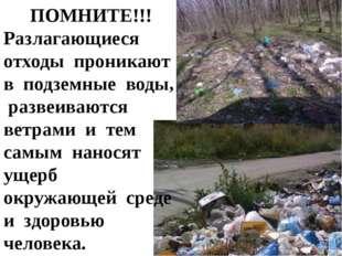 ПОМНИТЕ!!! Разлагающиеся отходы проникают в подземные воды, развеиваются ветр