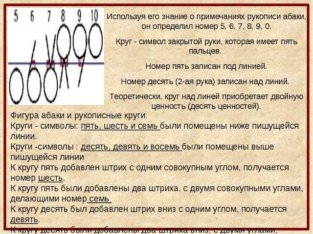 Используя его знание о примечаниях рукописи абаки, он определил номер 5, 6, 7...
