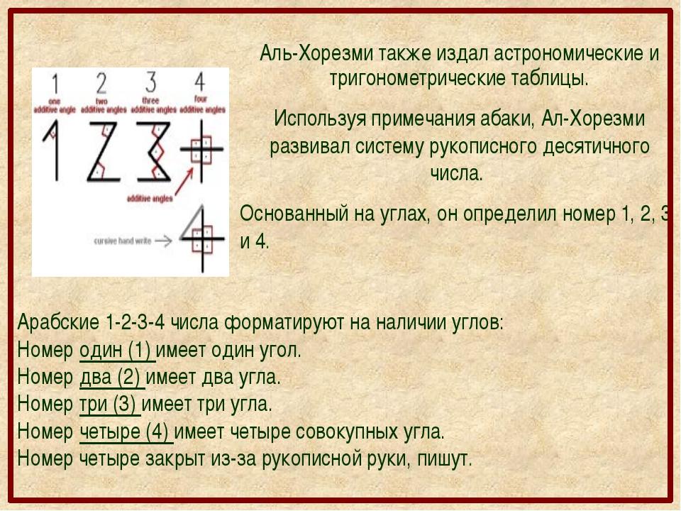 Аль-Хорезми также издал астрономические и тригонометрические таблицы. Использ...