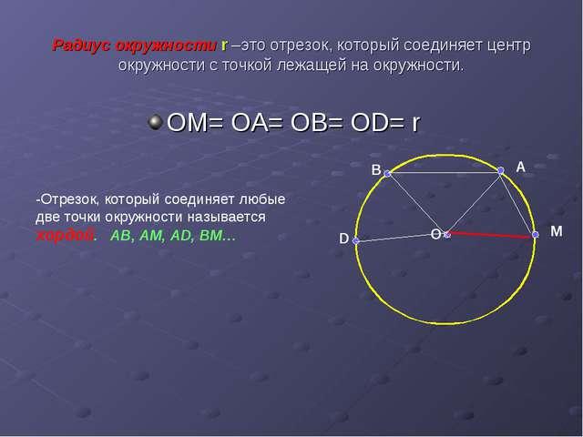 Радиус окружности r –это отрезок, который соединяет центр окружности с точкой...