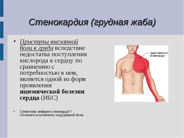 Стенокардия (грудная жаба) Приступы внезапной боли в груди вследствие недост...