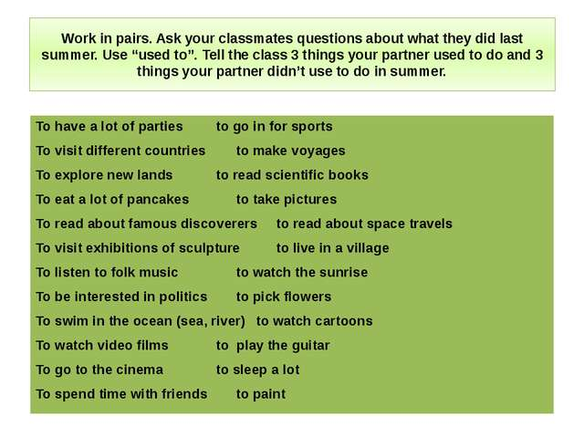 Work in pairs. Ask your classmates questions about what they did last summer....