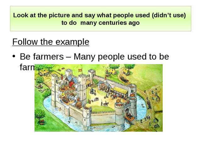 Look at the picture and say what people used (didn't use) to do many centurie...