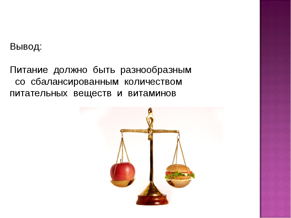 Вывод: Питание должно быть разнообразным со сбалансированным количеством пита...