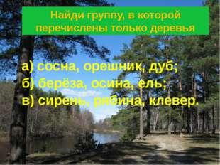 Найди группу, в которой перечислены только деревья а) сосна, орешник, дуб; б)