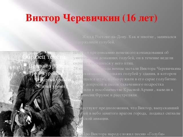 Виктор Черевичкин (16 лет) Жил в Ростове-на-Дону. Как и многие , занимался со...