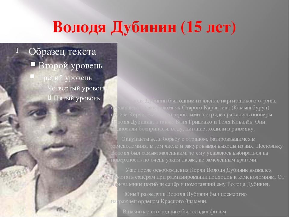 Володя Дубинин (15 лет) Володя Дубинин был одним из членовпартизанского отря...