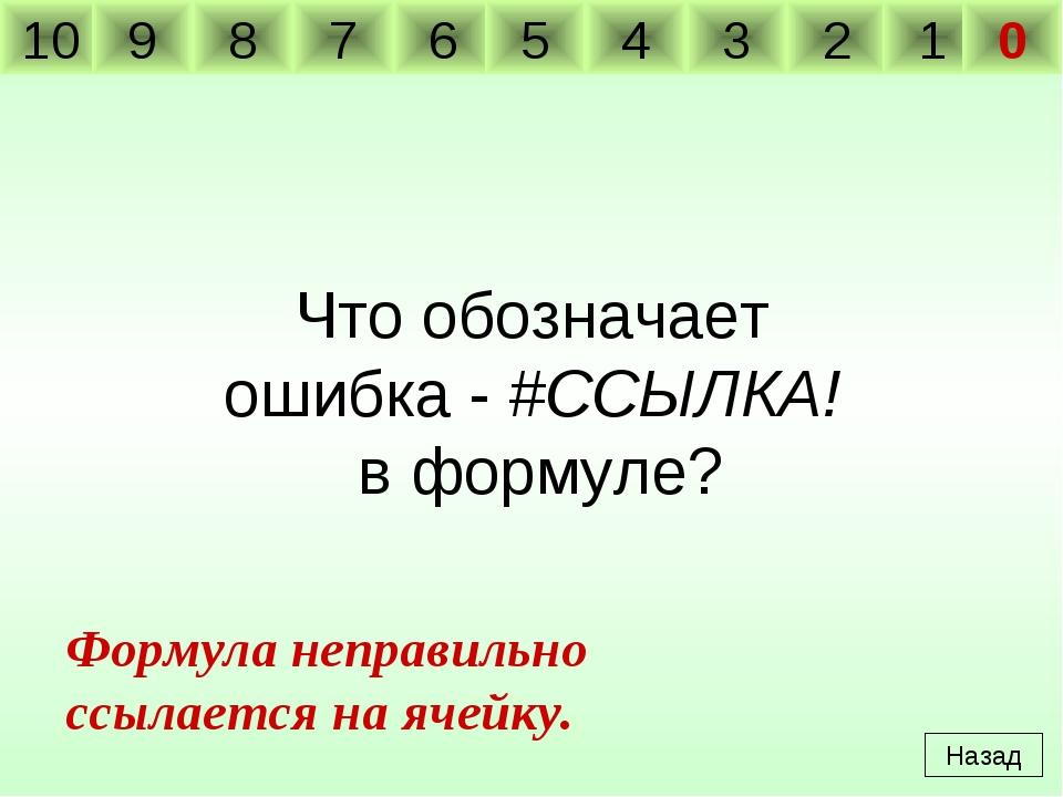 Что обозначает ошибка - #ССЫЛКА! в формуле? Назад Формула неправильно ссылает...