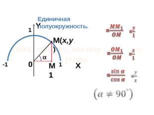 Формулы вычисления координат точки с положительной ординатой A(x,y) M(cosα,si