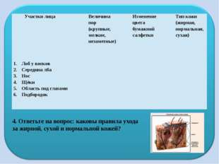 4. Ответьте на вопрос: каковы правила ухода за жирной, сухой и нормальной кож