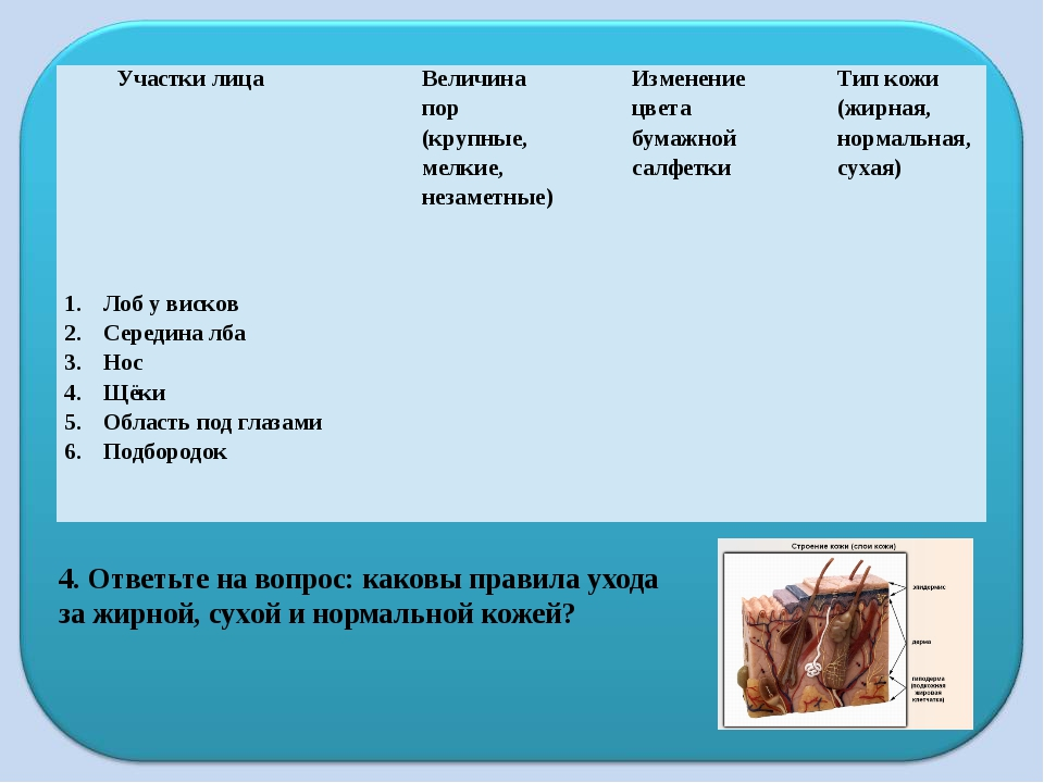 4. Ответьте на вопрос: каковы правила ухода за жирной, сухой и нормальной кож...