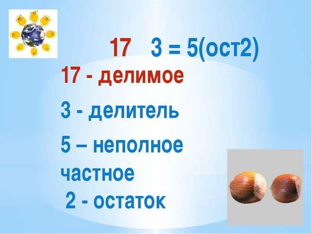 17 - делимое 3 - делитель 5 – неполное частное 2 - остаток 17 ∶ 3 = 5(ост2)