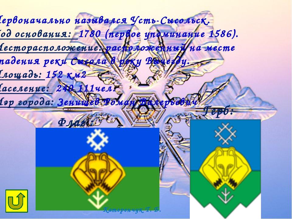 город Микунь Катеренчук Т. Б.