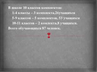 В школе 10 классов комплектов: 1-4 классы – 3 комплекта,26учащихся 5-9 класс