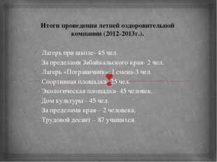Итоги проведения летней оздоровительной компании (2012-2013г.).  Лагерь при