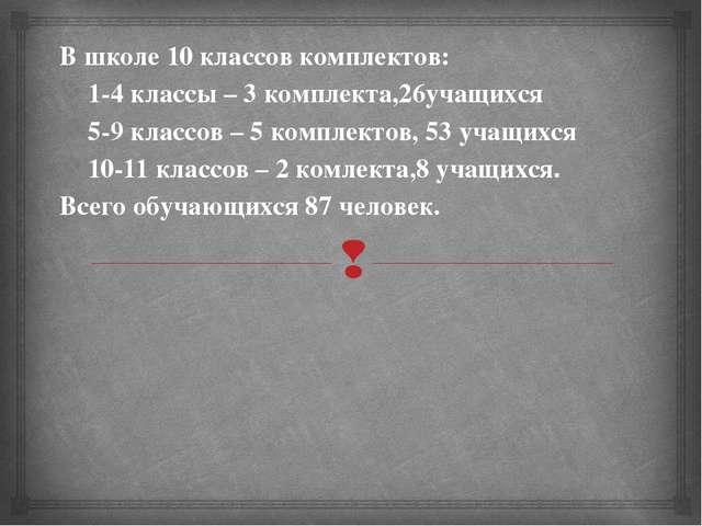 В школе 10 классов комплектов: 1-4 классы – 3 комплекта,26учащихся 5-9 класс...