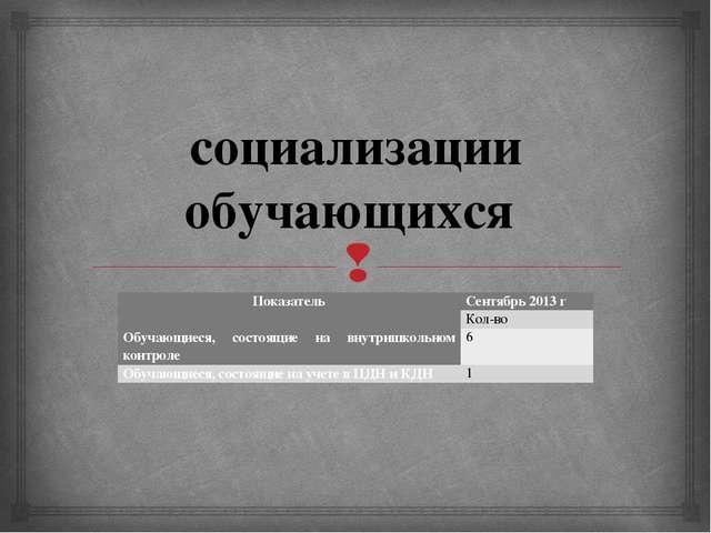 социализации обучающихся Показатель Сентябрь 2013 г Кол-во Обучающиеся, состо...