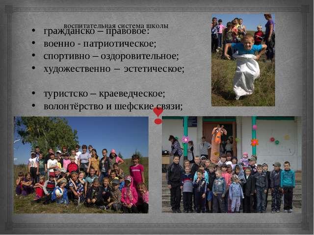 воспитательная система школы гражданско – правовое: военно - патриотическое;...