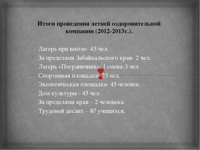 Итоги проведения летней оздоровительной компании (2012-2013г.).  Лагерь при...