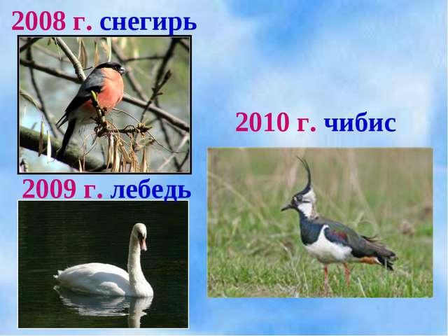 2008 г. снегирь 2009 г. лебедь 2010 г. чибис