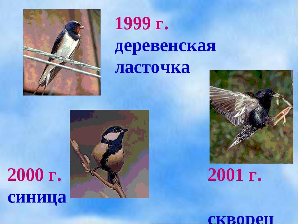 1999 г. деревенская ласточка 2000 г. синица 2001 г. скворец