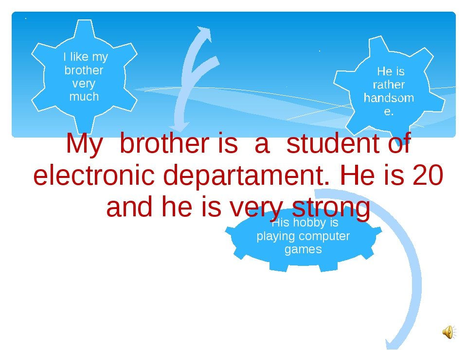 My brother is a student of electronic departament. He is 20 and he is very st...