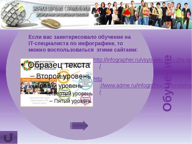 Трудо- устройство Направления работы инфографиста: В рекламе товаров и услуг...