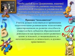 """Принцип """"пользователя"""" Учитель должен пользоваться со временными педагогическ"""