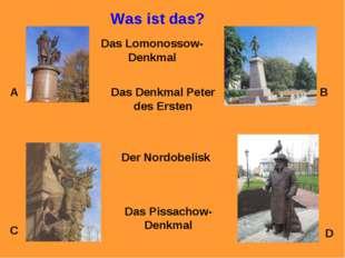 Was ist das? A B C D Das Lomonossow-Denkmal Das Denkmal Peter des Ersten Der