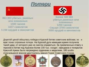 Более 500 000 убитых,раненых или плененных 1200 танков Свыше 3700 самолетов 3