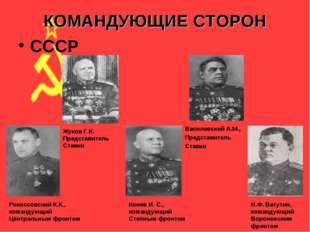 КОМАНДУЮЩИЕ СТОРОН СССР Рокоссовский К.К., командующий Центральным фронтом Ко