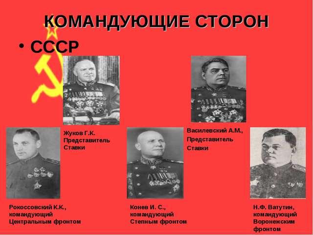 КОМАНДУЮЩИЕ СТОРОН СССР Рокоссовский К.К., командующий Центральным фронтом Ко...