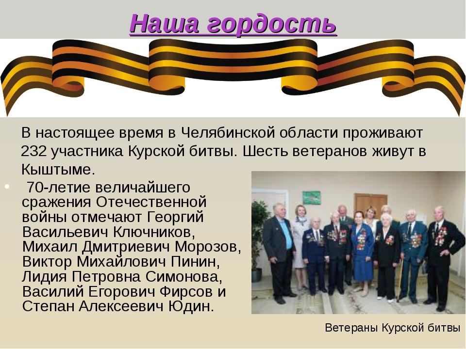 Наша гордость 70-летие величайшего сражения Отечественной войны отмечают Гео...