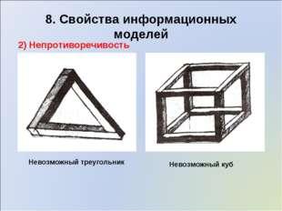 8. Свойства информационных моделей 2) Непротиворечивость Невозможный треуголь