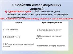 8. Свойства информационных моделей 1) Адекватность цели – отображение в модел