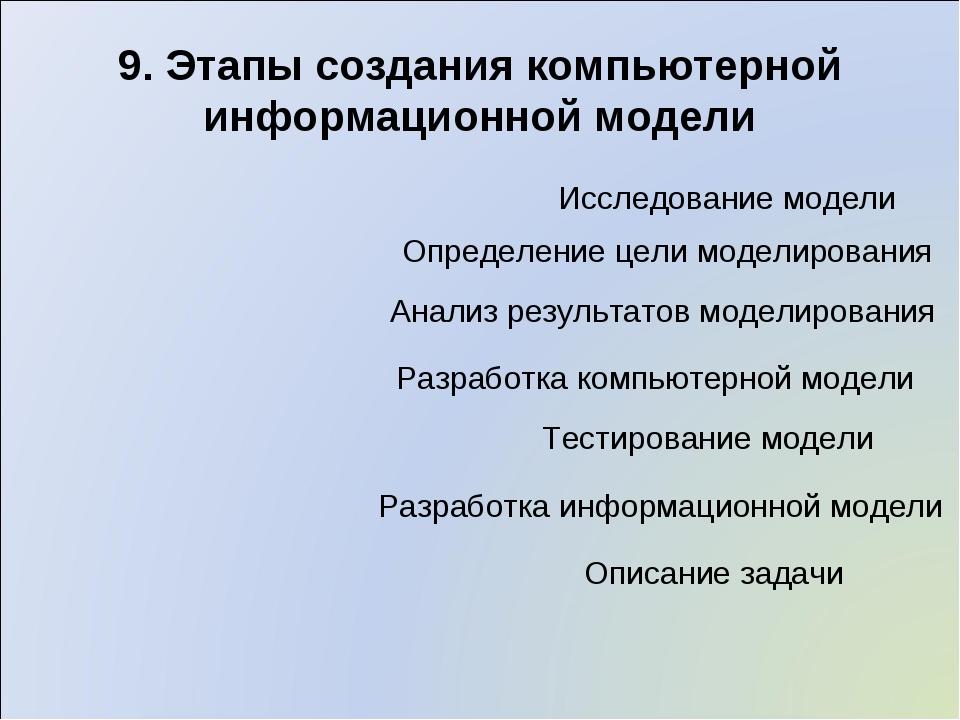 9. Этапы создания компьютерной информационной модели Описание задачи Определе...