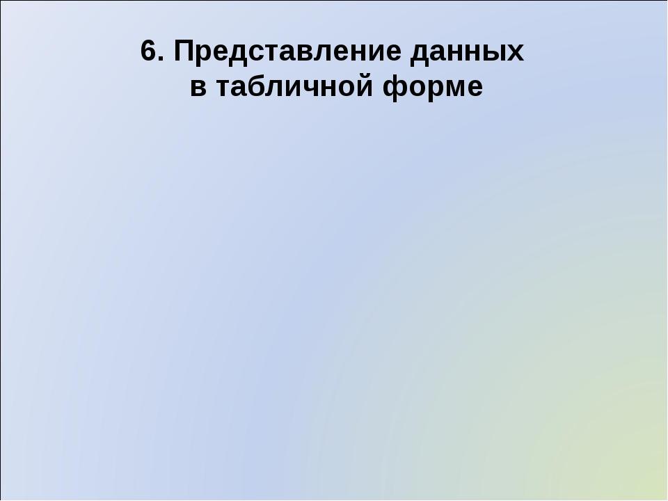 6. Представление данных в табличной форме