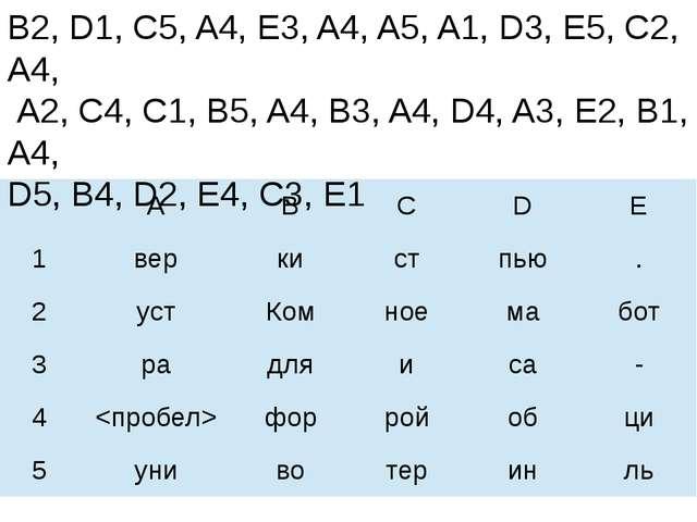 Ключ: B2, D1, C5, A4, E3, A4, A5, A1, D3, E5, C2, A4, A2, C4, C1, B5, A4, B3,...